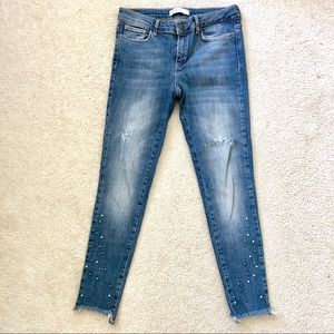 ZARA PEARL BEADED FRAYED HEM DISTRESSED JEANS